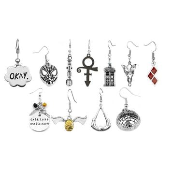 19 Types Move Jewelry earrings Spider-man Dr. Doctor Who Suicide Squad Quidditch The Legend of Zelda Drop Earrings Star Wars