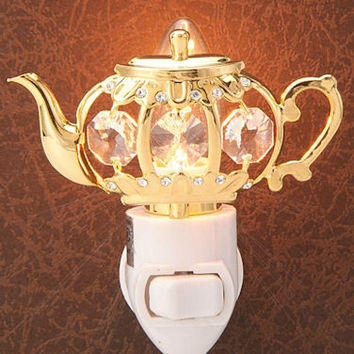 """Brilliance"" Teapot Night Light Clear Crystals"