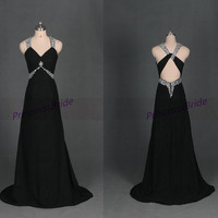 Latest long black chiffon prom dress with rhinestones,cheap chic women gowns for holiday party,floor length sexy v-neck evening dresses hot.