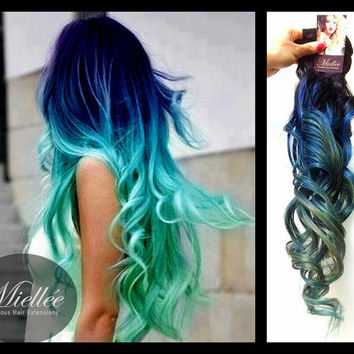 "24"" TURQUOISE OMBRE / Mermaid Style / Brazilian 100% Human Hair Extensions /  Weft Clip In Tape In"