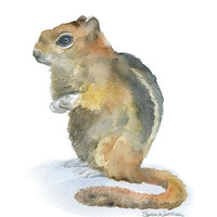 Chipmunk Watercolor Painting Giclee Print - 8 x 10 - Woodland Animal - Nursery Art