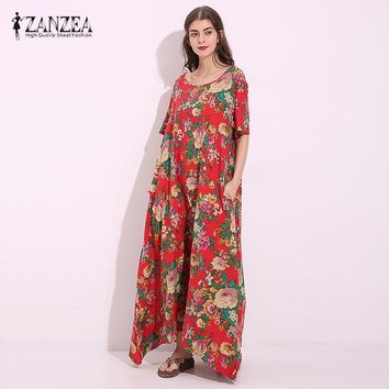 ZANZEA Summer O Neck Floral Print Short Sleeve Women Tunic Baggy Vintage Party Kaftan Maxi Long Dress Vestido Plus Size