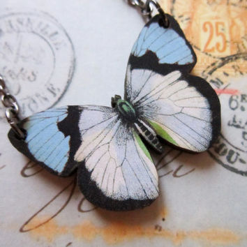 Butterfly Woodcut Necklace - Small Blue Wooden Butterfly Pendant
