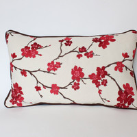 Lumbar Pillow Cover with Piping, Embroidered Red and Pink Cherry Blossoms