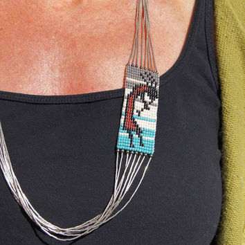 Kokopelli Southwest Beaded Liquid Silver Necklace