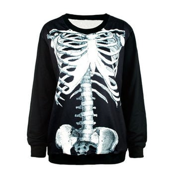 Steel Skeleton Bones Fashion Digital printed sweatshirts Harajuku Women/Men galaxy Top Space Printed galaxy Hoodies ladies galaxy sportwear = 1931692292