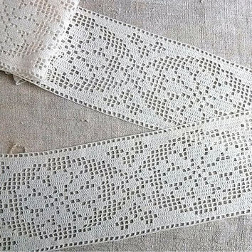 Curtain crochet lace Ivory lace border Country curtain edging Crocheted window valance Cotton trim Rustic adornment band tapes Length 96""