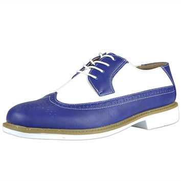 Mens Casual Shoes Lace Up Oxford Derby Two Tone Shoes Blue SZ