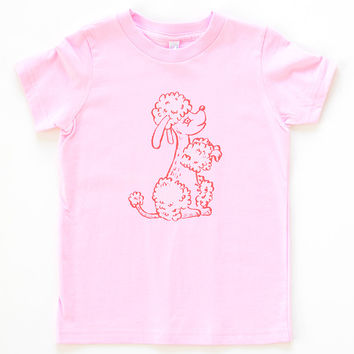 Perky Poodle Puppy Kids Tee | Pink