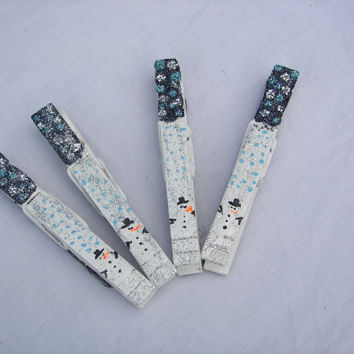Christmas Snowmen Clothespin Magnet Patterned Set (3.5 inch)