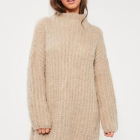 Missguided - Nude Brushed Chunky Stitch Mini Sweater Dress