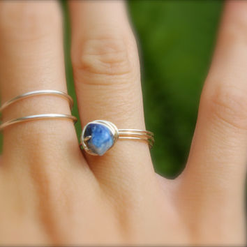 Lapiz Lazuli Wire wrap silver ring, Simple delicate ring