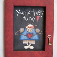 Tole Painted Snowman You hold the Key to my Heart Framed in Red