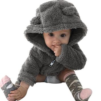 Toddler Baby Boys Girls Fur Hoodie Winter Warm Coat Jacket Cute Thick Clothes