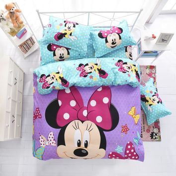 Disney mickey children bedding set queen full single size duvet cover sheet pillow case bed linen set