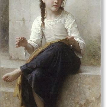Sewing By Adolphe-William Bouguereau - Greeting Card
