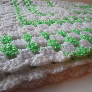 Baby Afghan or Lapghan - White with Green and Green and White Variegated - Handmade Crochet - Reduced - Clearance - Ready to Ship