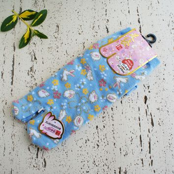 Tabi Socks - Bunnies and Cherry Blossoms in Blue
