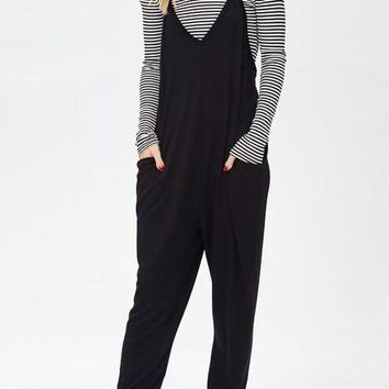 Emily French Terry Jumpsuit in Black