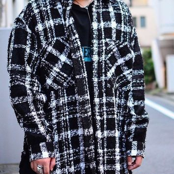 2018 winter hip hop unisex men kanye west oversized plaid vintage thick pocket woolen knitting shoulder loose Tweed Cotton shirt
