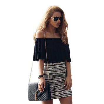 Sexy Off Shoulder Ruffles Jumpsuit with Bodycon Short Skirt Dress Set