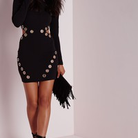 Missguided - Petite Eyelet Detail Cut Out Bodycon Dress Black