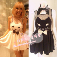 Lu Beibei the の feedback section!  ONE SPO original single bow tie net yarn wild cat perspective Dress - Taobao