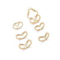 Geo-Shaped Midi Ring Set