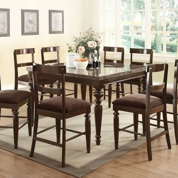 Acme 70385-87 9 pc bandelee walnut finish wood marble top wood counter height dining table set with turned legs