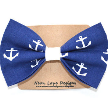 Nautical Navy Blue and White Anchor Hair Bow Barrette