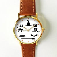 Witch Essentials Watch , Halloween Vintage Style Leather Watch, Women Watches,Unisex Watch,Boyfriend Watch,Men's Watch,Yellow Black Orange