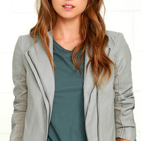 Chic Clique Grey Vegan Leather Jacket