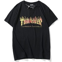 THRASHER high street tide brand classic flame letter printing couple models round neck shirt T-shirt Black
