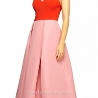 Colorblock Crepe Cocktail Dress by Kay Unger