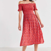 Kimchi Blue Off-The-Shoulder Smocked Dress   Urban Outfitters
