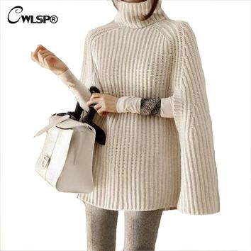 CWLSP Turtleneck Sweater Women Pullovers Autumn Female Coat Oversize Batwing Sleeve Striped Knitted Poncho Outerwear QZ2300