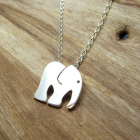 Sterling Silver Elephant Necklace with Gift Box - Animal Jewellery