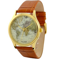 Map Watch (World 2) in gold case - Unisex Watch for Men and Women - Free shipping