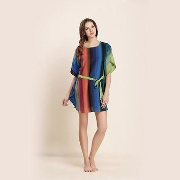 Short Silk Nightgown With Colorful Vertical Stripes