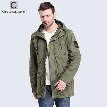 Men Cotton Jackets and Coats Casual Loose Washed Windbreakers Multi-colors Hooded with Drawstring