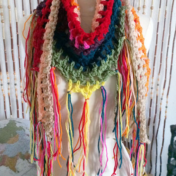 FREE SHIPPING - Crochet, Triangle, Scarf, Cowl, Wrap, Infinity - Multi, Rainbow, Yellow, Green, Teal, Blue, Purple, Peach, Red, Orange, Tan