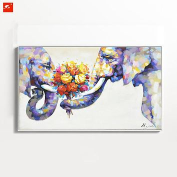 Wildlife Animal Wall Art Elephant Hand Painted Oil Painting On Canvas Print  Decorative Picture For Bedroom Or Living room