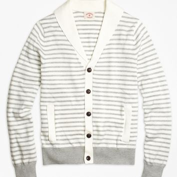 Men's Cotton Grey Striped Cardigan | Brooks Brothers
