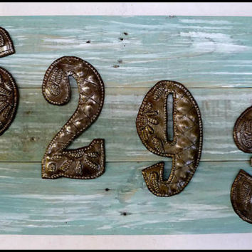 House Number Sign, 4 Address Numbers, Metal Numbers,  Address Sign, Pallet Wood, Shabby Chic, Reclaimed Wood, Address Plaque, A3-4-AQ-4
