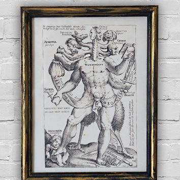 Vintage print: Allegory of the Five Obstinate Monsters. Wood frame with handmade painting in black & gold colors. 7'x9.4 (18x24cm).