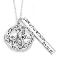 Not under my heart but in it seahorse pendant necklace