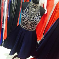 Rhinestone Navy Blue Cocktail Dresses 2017 High Neck Graduation Homecoming Dress 2017