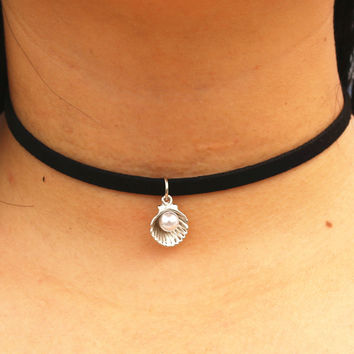 90's Girl Choker Necklaces Black Velvet Leather