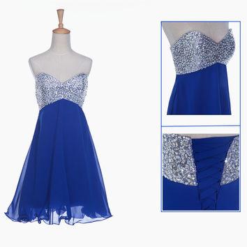 Homecoming Dress,Blue Strapless Beadings Chiffon Short Prom Dress