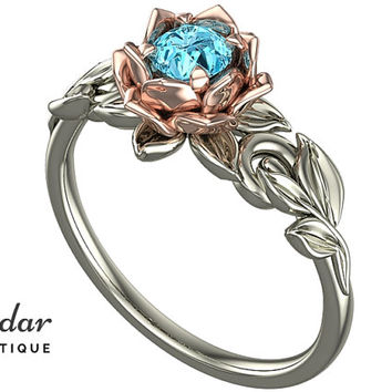 Aquamarine Engagement Ring,Unique Engagement Ring,Flower Engagement Ring,Lotus Engagement Ring,Floral Engagement Ring,Leaves Engagement Ring
